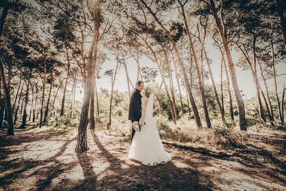 Bruidspaar in bossen Rosmalen tijdens fotosessie