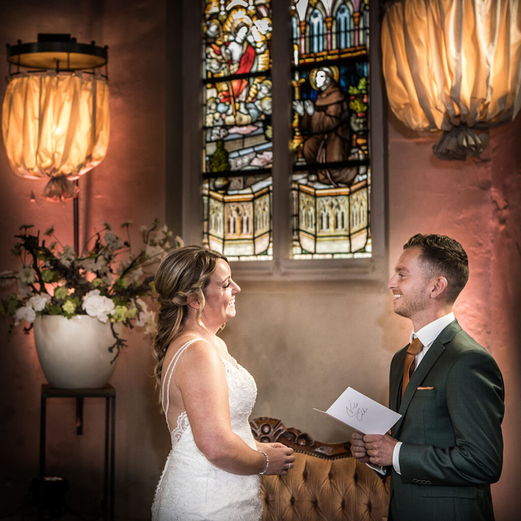 Geloften bruiloft trouwfotograaf trouwfotografie Vincent Rijkers Klooster Bethlehem Haren