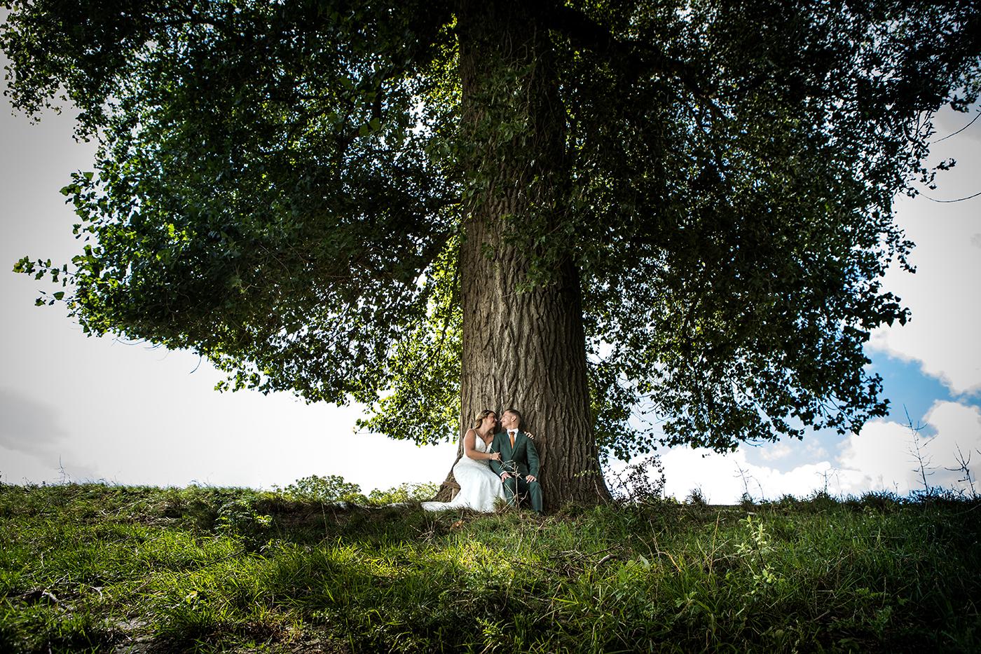Trouwen onder boom buiten trouwfotografie trouwfotograaf